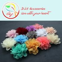 (60 pieces/lot) top quality Ruffle Chiffon Flowers,diy wedding ,baby headband,girls hair clip accessories(13 colors)