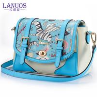 2014 one shoulder cross-body women's handbag candy women's handbag fresh pattern women's handbag