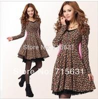 Plus Size 2014 New Women Vintage Spring Autumn Winter Dress, Long-Sleeve Lace Casual Floral Print Dresses S - XXL Wholesale