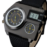 NEW Brand BESNEW watch COOL Big men military quartz  & digital watches sports leather strap watches mens casual wristwatches