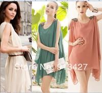 2014 new arrival ladies' elegant candy color chiffon dress women fashion beads cloak cape sleeveless batwing dress free shipping