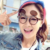 wholesale more preferential 2014 plain mirror vintage round box sunglasses double layer flip dual-use sun glasses e92  5pcs