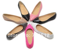 Latest Fashion PATENT PIGALLE SPIKE FLATS shoes Spike Women's shoes Free Shipping