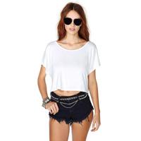 Basic mercerized cotton loose batwing sleeve o-neck female short design t-shirt haoduoyi