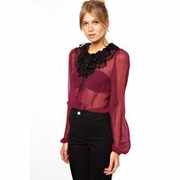 2014 multi-layer gauze patchwork long-sleeve chiffon shirt haoduoyi female