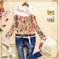 women's sweep medium-long turn-down collar chiffon flower shirt fashion long-sleeve