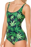 BM Weed One Piece Swimsuit Green Leaf  Printed Pattern Swimwear Slim With Inside PadS/M/L Whoelsale Freeshipping