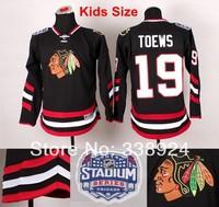 Youth Chicago Blackhawks  #19 Jonathan Toews Black Jersey 2014 Stadium Series Kids Ice Hockey Jerseys