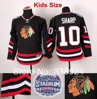 Kids 2014 Stadium Series Chicago Blackhawks Jerseys #10 Patrick Sharp Black Youth Ice Hockey Jersey