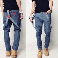 2014 spring male slim denim bib pants men's suspenders jeans