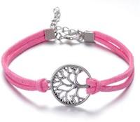 !Wholesale Antique Silver Rope Bracelet Braided Leather Fashion  Charm Hope Tree Bracelets Jewelry YH-5 Free Shipping!