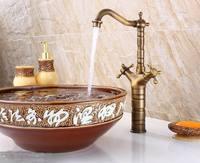 Bathroom Antique Brass Two Handles  Basin Faucets Bathroom Hot Cold Mixer Tap Faucet MK3306HAB
