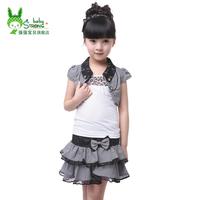 Children's clothing 2014 spring female child set child preppy style piece set summer school uniform costume