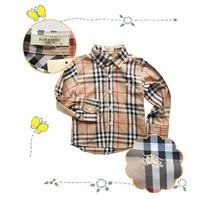 Lovely baby fashion boy's long sleeve turn-down collar  T-shirt spring plaid  shirt ,fashion Princess casual shirt