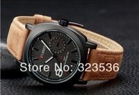 Hot! FreeShipping!  2014 Newest Fashion WristwatchCurren Men's watches sport men Military water Quartz Watch with Leather Strap