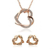 Fashion Loverly Cute Double Heart Necklace and Earring Jewelry Sets Crystal Jewelry(China (Mainland))