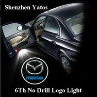 6th Generation no drill Mazda car led door logo lights welcome laser light ghost shadow light