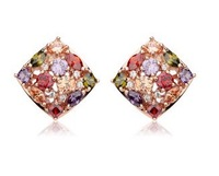 New Arrival Luxury 18k Rose Gold Stud Earrings with Colorful Zircon Crystal Women Engagement  Jewelry JX1866