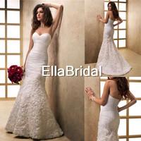 Romantic Mermaid Sweep Train Sweetheart White Organza With Flowers 2014 New Arrival Wedding Dresses Bridal Dress 14903