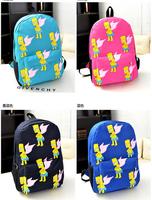 students school bag  doodle backpack  canvas laptop bag Simpson style