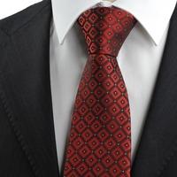 Dark Red Burgundy Gradient Checked Men's Tie Necktie Wedding Holiday Gift  322