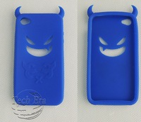 cute cartoon shy monster soft silicone silicon back cover skin case for iphone 4 4G 4S blue free shipping no tracking TEP-3285.