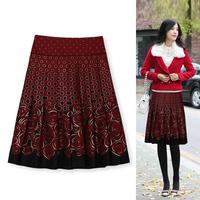 2014autumn bust skirt woolen quinquagenarian skirt print medium skirt customize plus size 1506
