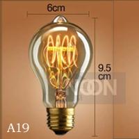 Free shipping a19 vintage light bulb decoration style pendant light bar table single head,Edison carbon filament light bulb