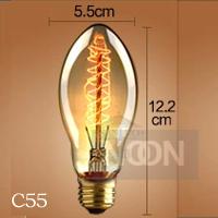 Free shipping C55 vintage light bulb decoration style pendant light bar table single head,Edison carbon filament light bulb