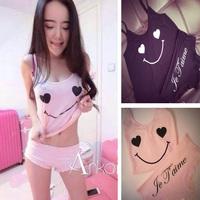 Pijama Pajamas For Women Free Shipping 2014 Summer Sleep Set Love Smiley Spaghetti Strap Top Sleepwear Laciness Shorts Wholesale
