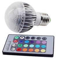 E27 3W RGB LED Bulb Light Lamp 110V/220V with IR Remote Control