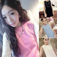 New 2014 Summer Fashion Women Ladies Sleeveless Wavy edge Solid Color Slip Slim Mini Chiffon Dress Free Shipping Wholesale