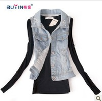 Autumn new arrival fashion street distrressed hole denim vest clip female short design vintage retro finishing denim vest