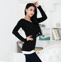 2014 spring slim medium-long plus size basic shirt modal long-sleeve T-shirt female all-match top