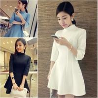 Elegant three-dimensional cut air layer stand collar 7 slim waist slim one-piece dress