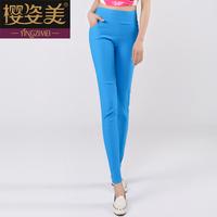 Elastic skinny pants pocket legging pencil pants slim casual trousers
