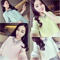 Style ladies sweet elegant o-neck shirt organza patchwork faux two piece set chiffon shirt