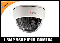 Free shipping HD 960P 1.3MP  Network  IP dome Camera 20m IR Onvif/push video/iphone andriod 3G control/motion detection/CMS