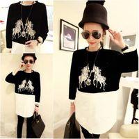 Spring street fashion print patchwork women's pullover shirt medium-long long-sleeve shirt