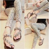 2014 spring new arrival fashion vintage black and white decorative pattern skinny pants legging pants female home