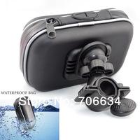 "4""- 5"" Waterproof 360 Motorcycle Bike Cycling GPS Case/Bag+Mount Holder for GPS Smartphone Samsung NOTE2/N7100 bike parts"