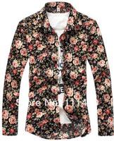 2014 New Arrival Sun Flower Men's Casual Shirt Floral Printed Long Sleeve Men Shirt Slim Fit Plus Size XXXL 4XL 5XL 6XL