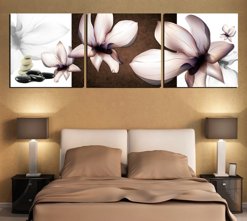 3 Piece free shipping Hot Sell Modern Wall Painting orchid flower Home Decorative home Art Picture Paint on Canvas Prints(China (Mainland))