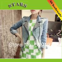 Fashion New Autumn-Summer Women's beading shine Long-sleeve blusa jeans jacket Denim short Outwear Retro Coat roupas femininas
