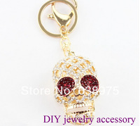 10pcs*2 colors Creative Fashion Gifts full Crystal Skull Keychain Key Chain Ring Keyfob Keyring