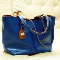 Genuine leather women's handbag fashion 2013 big bags wax cowhide shoulder bag large capacity handbag picture package