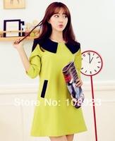 2014 brand new peter pan collar three-quarter sleeve a-line pregnant dress free shipping 2058