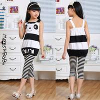 2014 summer new arrival children's clothes sleeveless top girls striped pants cotton cartoon panda casual set 6-14