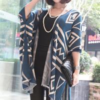 Women Loose Batwing Geometric Knit Cardigan Sweater Outwear - Blue