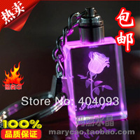 Free Shipping 3d crystal inner laser LED keychain, keyring / fast delivery , customer LOGO crystal rose keychain OEM product